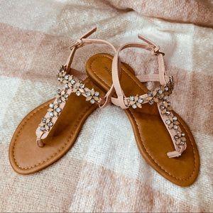 Pink Sandals Flip Flops With Rhinestones